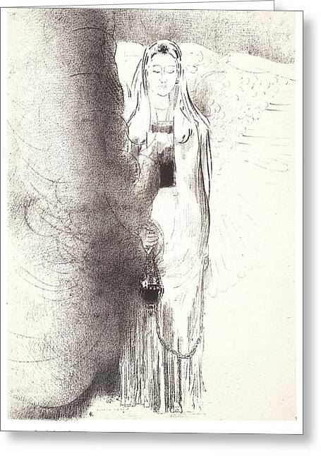 Odilon Redon French, 1840 - 1916. And The Angel Took Greeting Card by Litz Collection