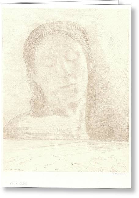 Odilon Redon French, 1840 - 1916. Closed Eyes Yeux Clos Greeting Card by Litz Collection