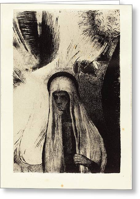 Odilon Redon French, 1840 - 1916, La Vieille Que Crains-tu Greeting Card by Quint Lox