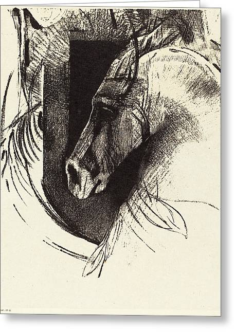 Odilon Redon French, 1840 - 1916, Le Coursier The Race Horse Greeting Card