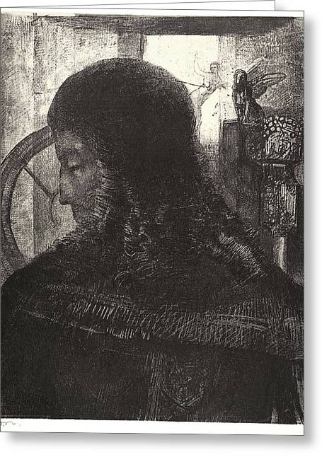 Odilon Redon French, 1840 - 1916. Old Knight Vieux Chevalier Greeting Card by Litz Collection