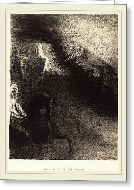 Odilon Redon French, 1840-1916, Pélerin Du Monde Greeting Card by Litz Collection