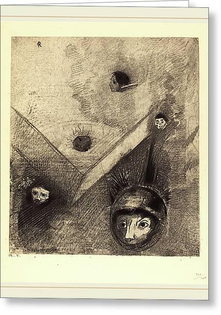 Odilon Redon French, 1840-1916, Sur Le Fond De Nos Nuits Greeting Card