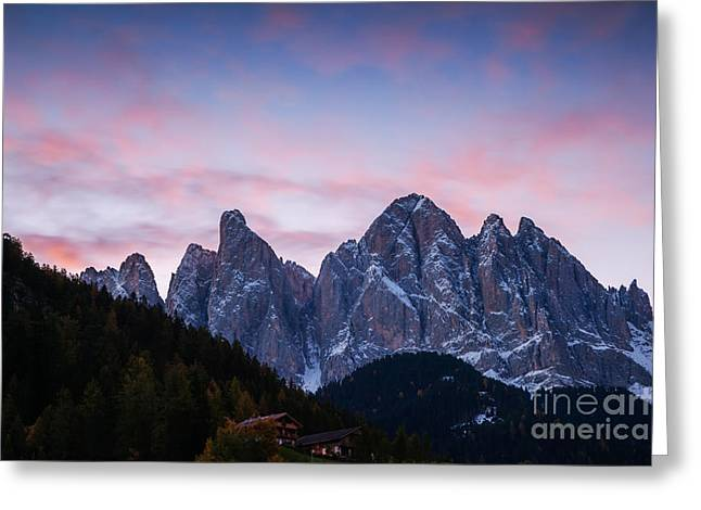 Odle Mountain Group In The Dolomites - Italy Greeting Card