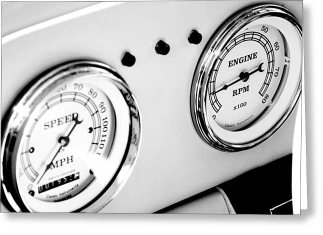 Odometer And Tachometer Of An Antique Car Greeting Card by Celso Diniz