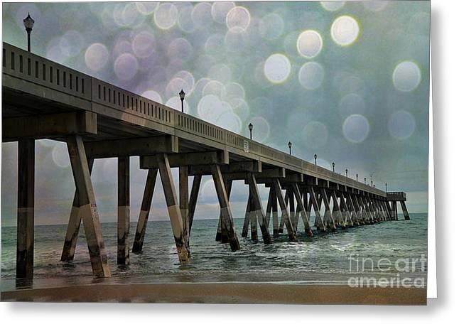 Wrightsville Beach Ocean Fishing Pier - Beach Ocean Coastal Fishing Pier  Greeting Card by Kathy Fornal