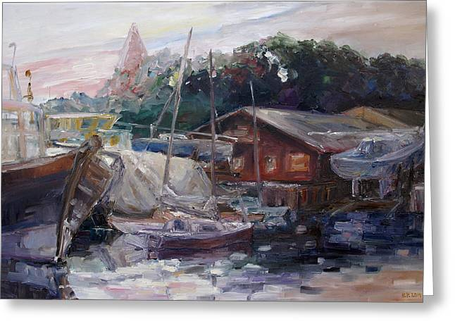 Off Hours At The Ship Yard In Kirchdorf Island Poel Greeting Card by Barbara Pommerenke