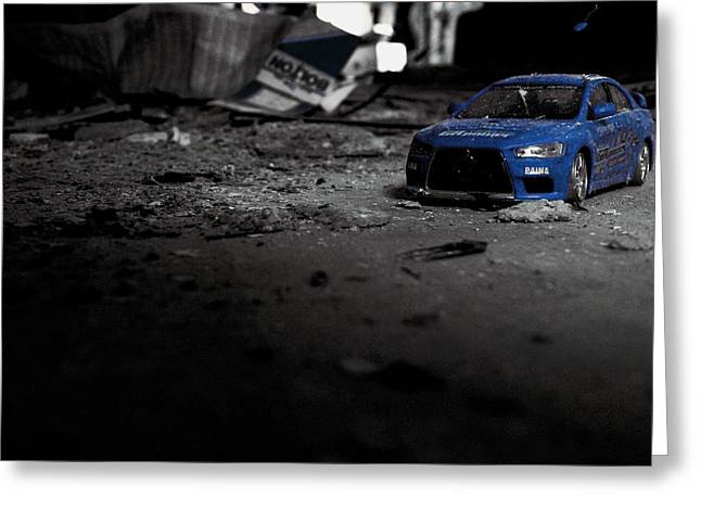 Off Road Rally Blue Greeting Card by Anthony Bean