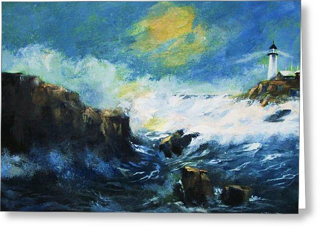 Off Shore Breakers At Dusk Greeting Card
