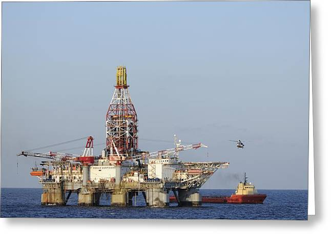 Off Shore Oil Rig With Helicopter And Boat Greeting Card