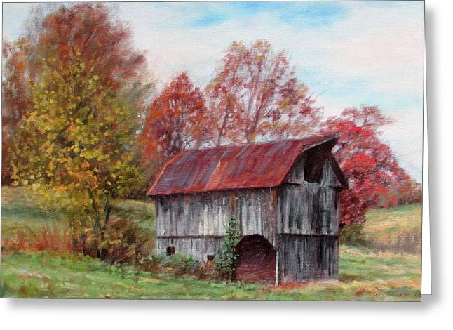 Off The Beaten Track-old Barn With Red Roof Greeting Card by Bonnie Mason