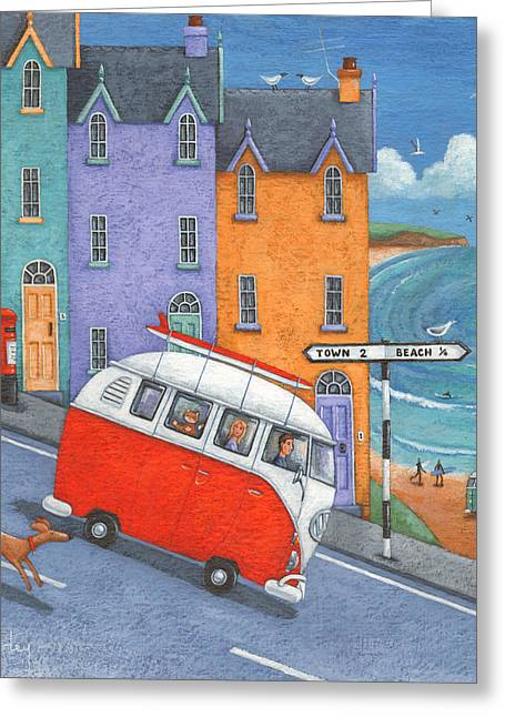 Off To The Beach Variant 1 Greeting Card by Peter Adderley