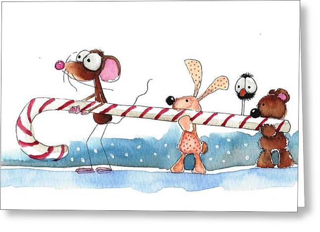 Off To The North Pole Greeting Card by Lucia Stewart