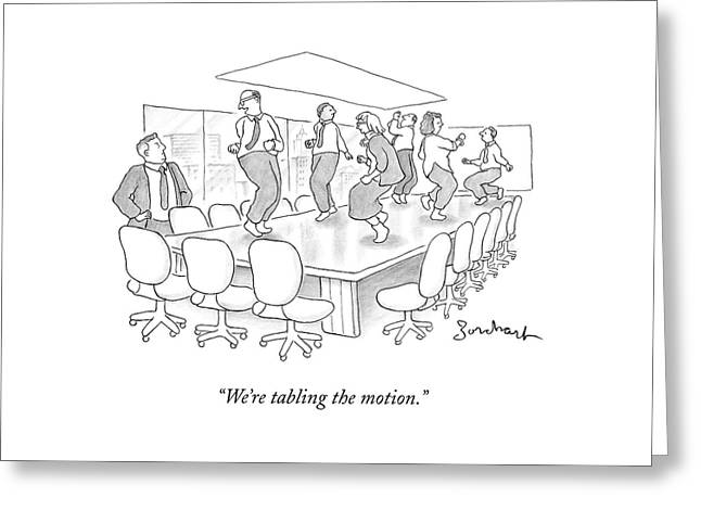Office Employees Dance On A Boardroom Table Greeting Card