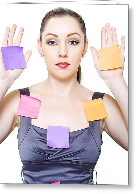 Office Secretary Or Receptionist With Copyspace Greeting Card