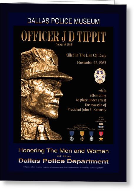 Officer J D Tippit Memorial Poster Greeting Card by Robert J Sadler