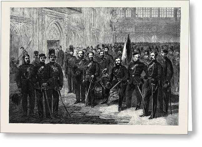 Officers And Privates Of The London Rifle Volunteer Brigade Greeting Card by English School