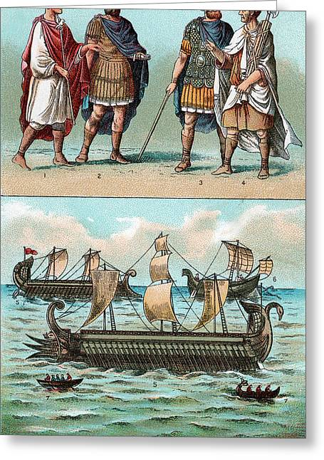 Officers And Ships Of Ancient Roman Greeting Card