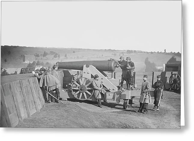Officers Operating A Cannon At Fort Greeting Card by Stocktrek Images