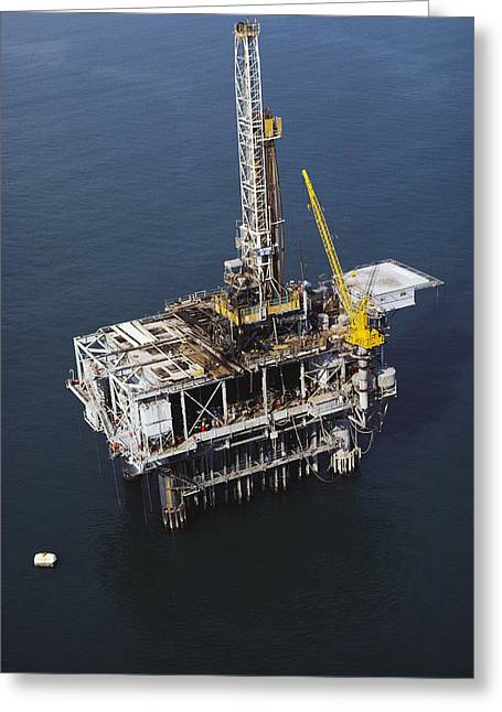 Offshore Drilling Rig Greeting Card by Earl Roberge