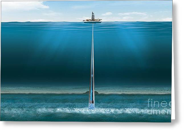 Offshore Gas Extraction, Artwork Greeting Card by Claus Lunau