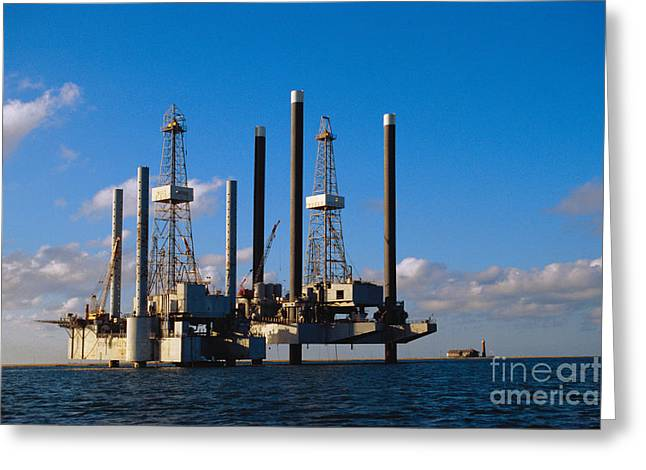 Offshore Oil Drilling Platform Greeting Card by Gregory G. Dimijian, M.D.