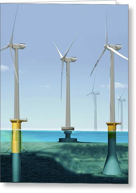 Offshore Wind Farm Greeting Card by Claus Lunau/science Photo Library