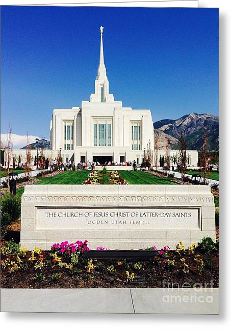 Greeting Card featuring the photograph Ogden Temple 1 by Richard W Linford