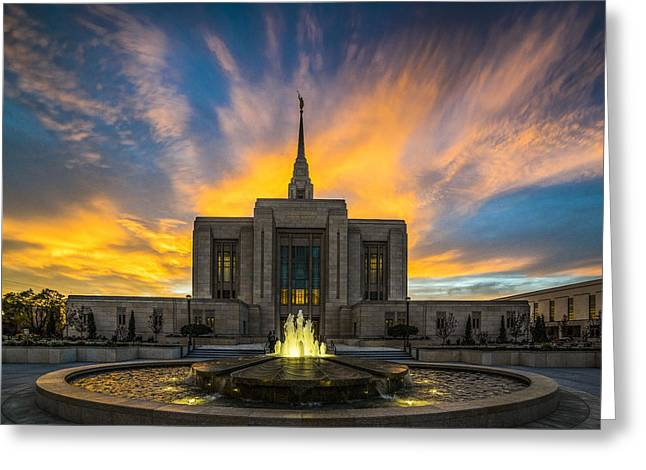 Ogden Temple Greeting Card by Peter Irwindale