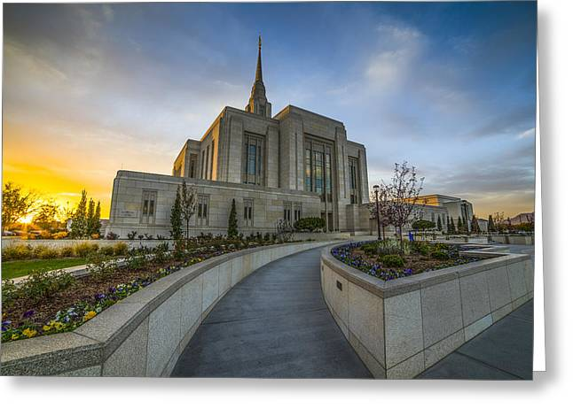 Ogden Temple Utah Greeting Card by Peter Irwindale