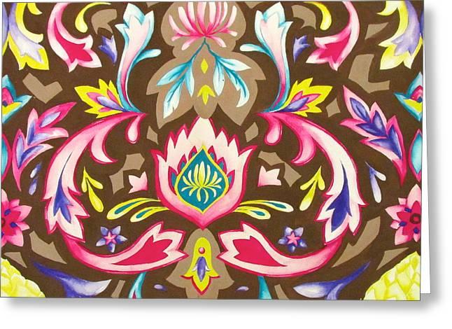 Ogee Textile Art Greeting Card by Monica Quinn