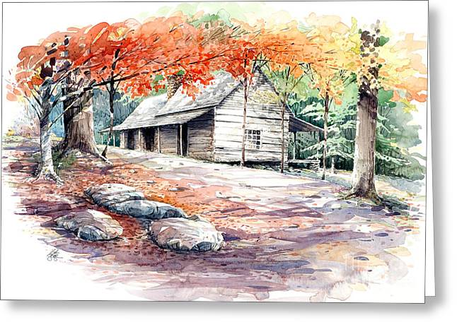 Greeting Card featuring the painting Ogle Farmhouse by Bob  George