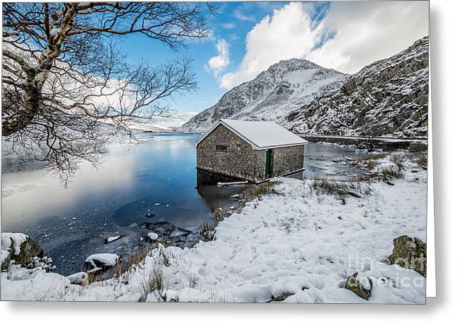 Ogwen Boat House Greeting Card by Adrian Evans