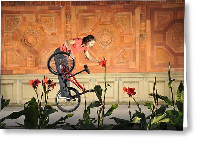 Oh A Pretty Flower - Funny Bmx Flatland Pic With Monika Hinz Greeting Card by Matthias Hauser