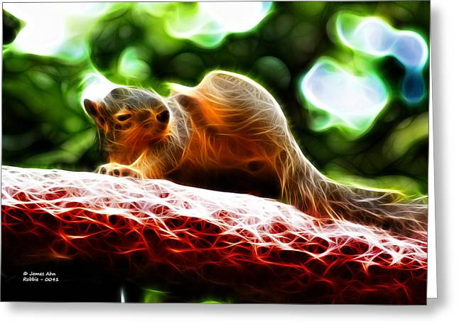 Greeting Card featuring the digital art Oh Buggers I Itch - Fractal - Robbie The Squirrel by James Ahn