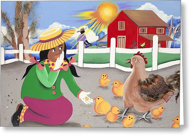 Oh Chick Greeting Card by Patricia Sabree