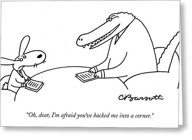 Oh, Dear, I'm Afraid You've Backed Greeting Card by Charles Barsotti