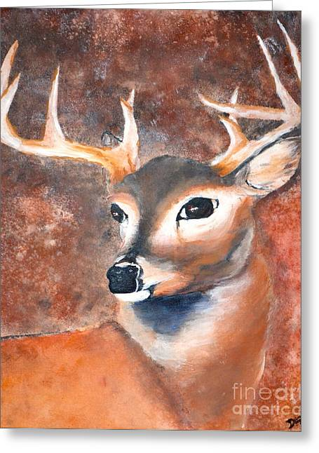 Greeting Card featuring the painting Oh Deer by Denise Tomasura