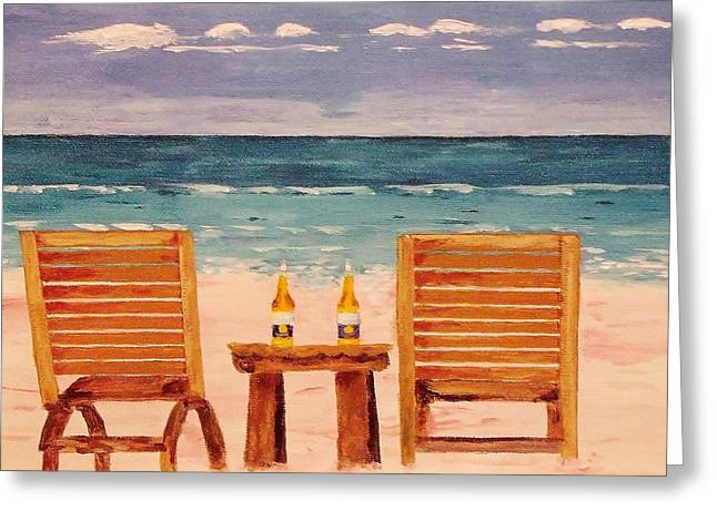 Two Corona's And A Beach Greeting Card