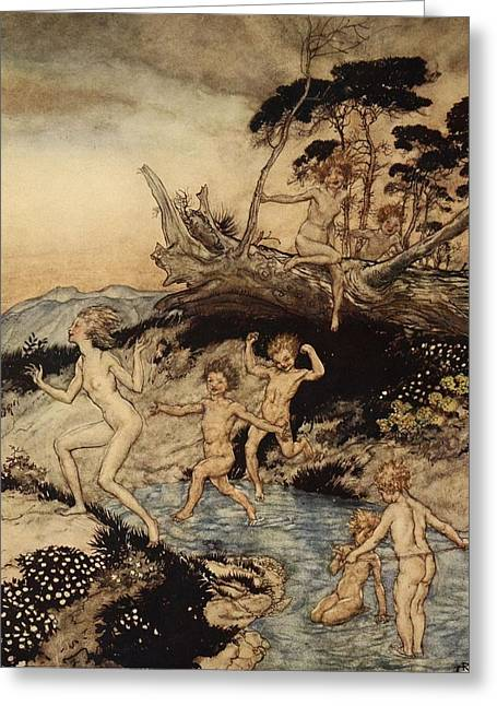 Oh What A Good Time Was That Greeting Card by Arthur Rackham