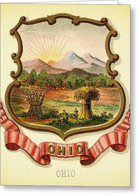 Ohio Coat Of Arms - 1876 Greeting Card by Mountain Dreams