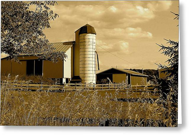 Ohio Farm In Sepia Greeting Card by Frozen in Time Fine Art Photography