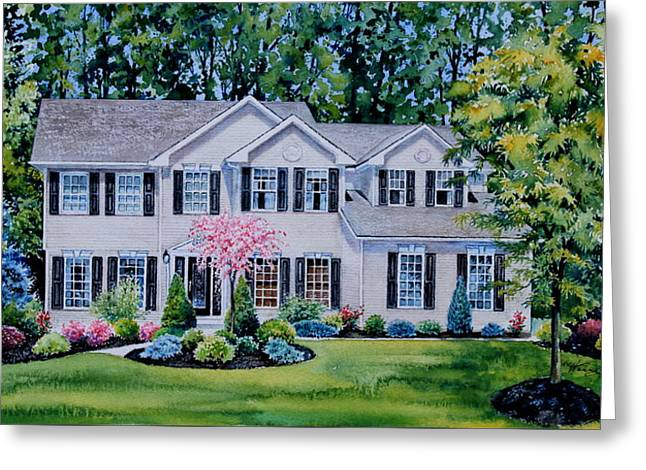 Ohio Home Portrait Greeting Card by Hanne Lore Koehler