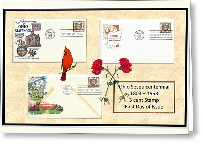 Ohio Sesquicentennial First Day Covers Greeting Card by Charles Robinson