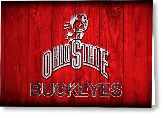 Ohio State Buckeyes Barn Door Vignette Greeting Card by Dan Sproul