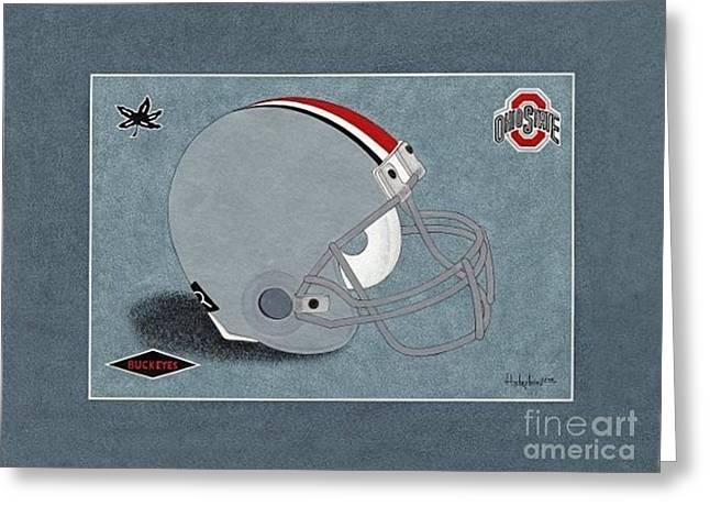 Ohio Buckeyes Helmet T-shirt  Greeting Card by Herb Strobino