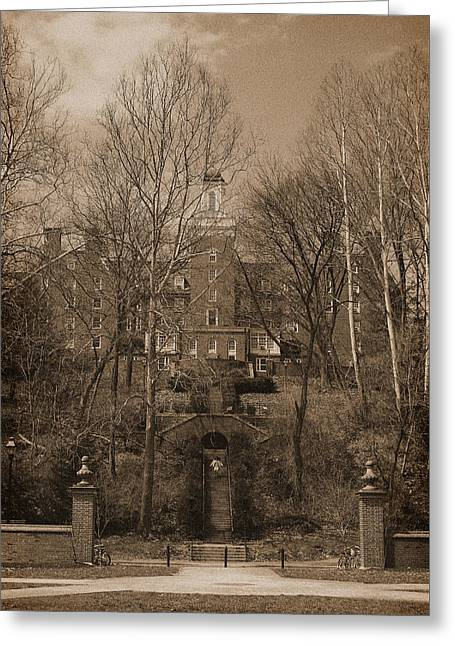 Ohio University Bryan Hall Sepia Greeting Card by Karen Adams
