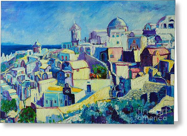 Greeting Card featuring the painting OIA by Ana Maria Edulescu