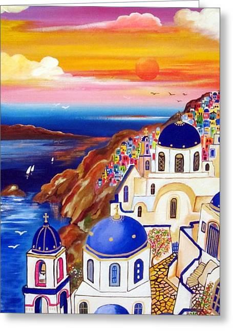 Oia Santorini Greece Greeting Card