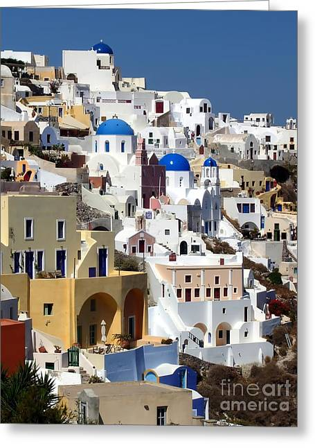 Oia Santorini Island Greeting Card by Sophie Vigneault